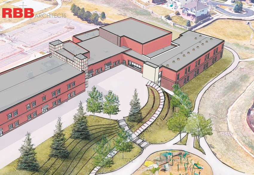 An artists rendering of what an finished renovations at Arapahoe Ridge Elementary should look like from above in 2018. The expansion should let the Adams 12 school district close the modular school buildings, bringing all of the students into the main building.