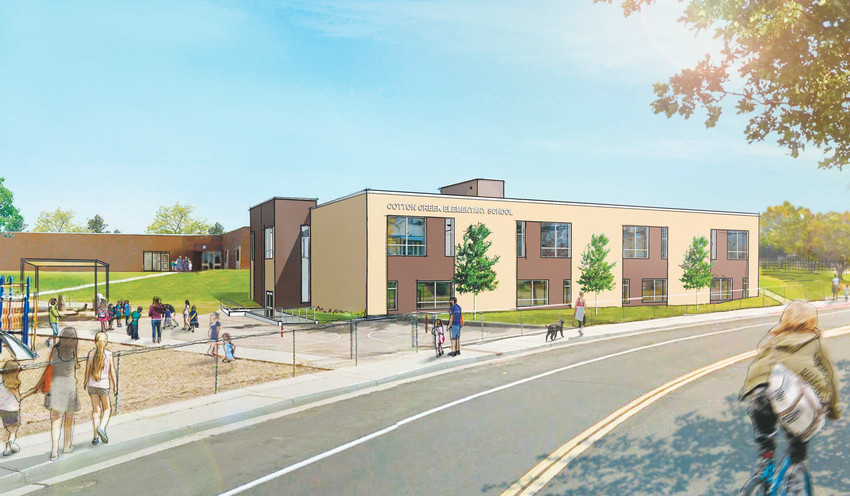 An artists rendering of what an expanded Cotton Creek Elementary should look like when school starts in the fall of 2018. A ground breaking of external renovations at the school is scheduled for Dec. 19.