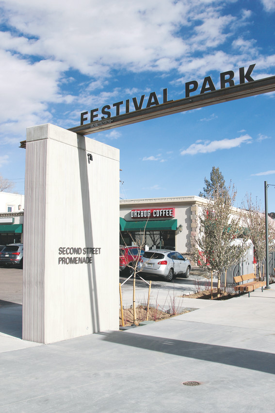 The entrance to Festival Park off Wilcox Street boasts a new promenade for visitors to walk near Seller's Gulch.