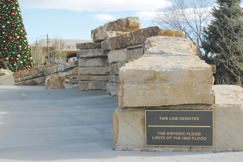 A bit of history is included in the Festival Park resdesign with a rock wall marking the limits of the 1965 flood, which wiped out buildings, bridges and roads in Castle Rock and the Denver Metro.