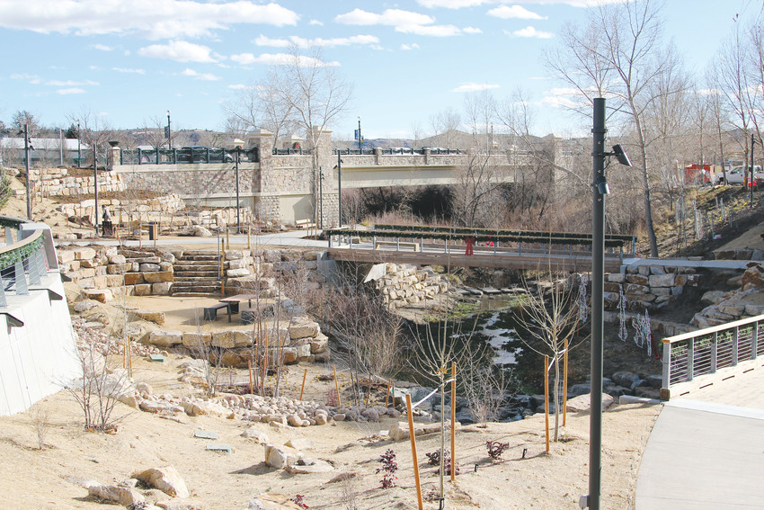 Gardens in the new Festival Park bring visitors close to the creek bed's level.