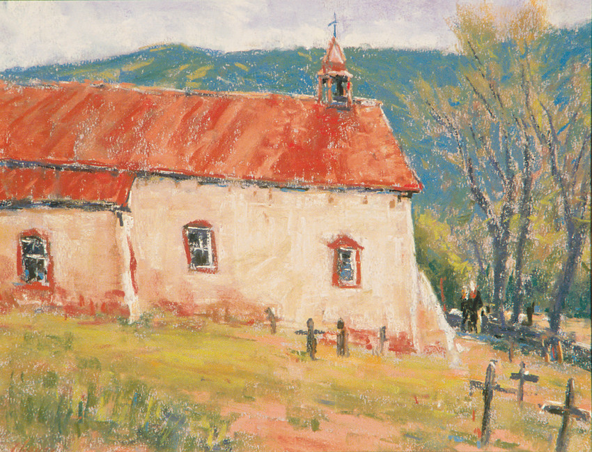 """New Mexico Church,"" by Parker artist Lorenzo Chavez, who will teach painting classes at the PACE Center."