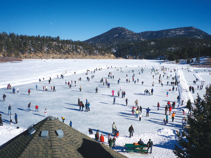 Evergreen Lake is the world's largest Zamboni-groomed outdoor ice rink at 8.5 acres.