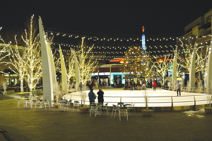 The Rink at Belmar is right in the center of the of the district, which means its perfectly located for shopping, a bite, or a movie, before or after skating.