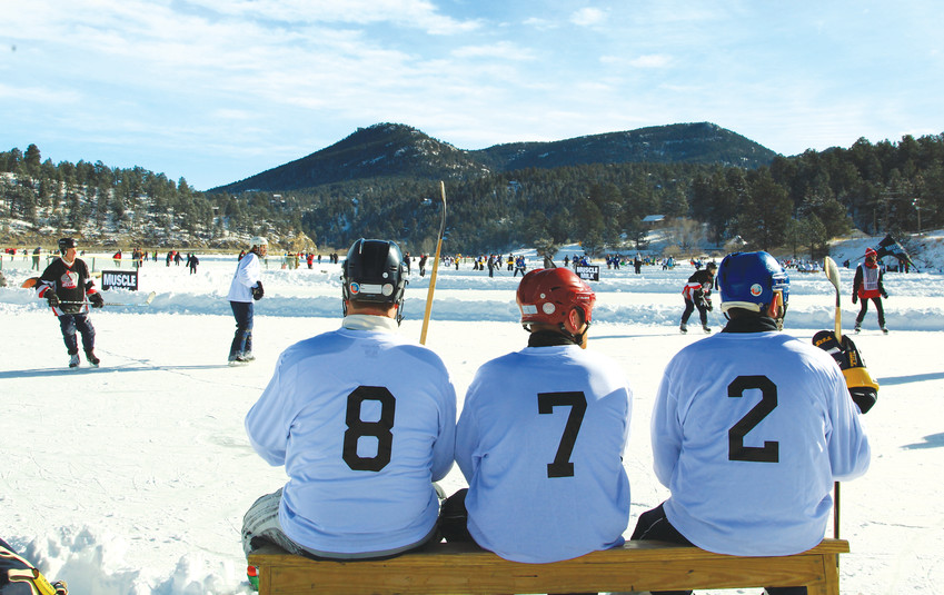The 8.5 acres of Evergreen Lake are home to 11 hockey rinks. Broomball, which is a mix of hockey and soccer, can also be played on the rinks.