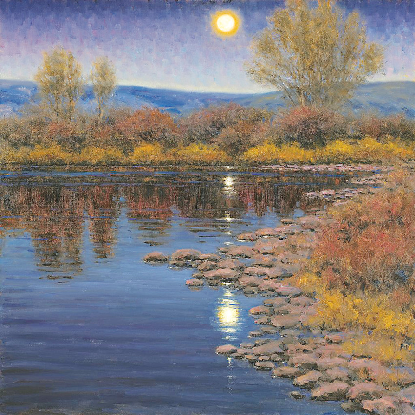 """Supermoon on the Colorado River"" by painter Don Young, who is the featured artist in the 2018 Coors Western Art Exhibit and Sale for 2018."