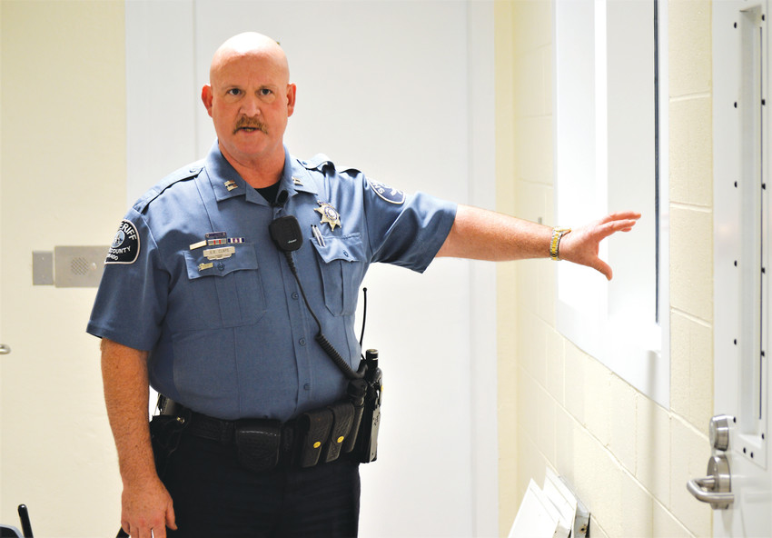 Adams County Jail Division Captain Gene Claps leads a media tour of the new mental health unit at the Adams County Jail Dec. 12. The county hosted a ribbon cutting of the new unit on Dec. 13, and Claps said he hoped to begin using it before Christmas.