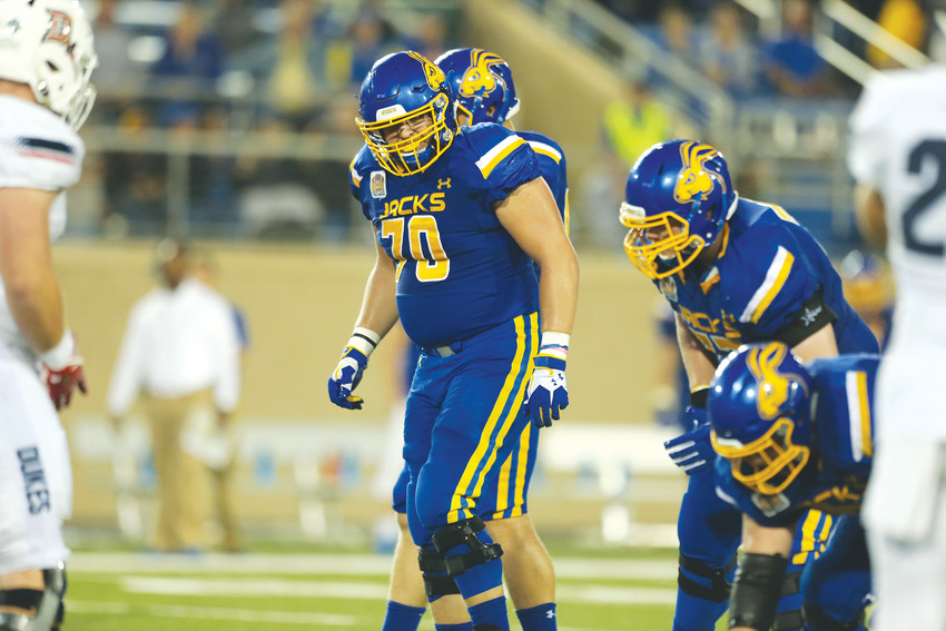 Junior offensive lineman Tyler Weir steps up to the line of scrimmage during a game for South Dakota State earlier this year.