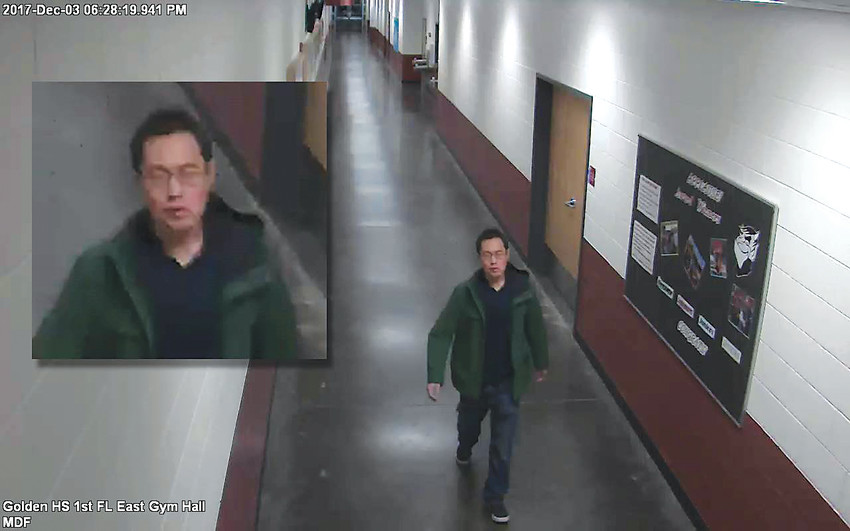 The Golden Police Department is seeking the public's help in identifying and locating a man who stole the three instruments from Golden High School on Dec. 3. Call 303-215-8873 or 303-384-8045 with any information.