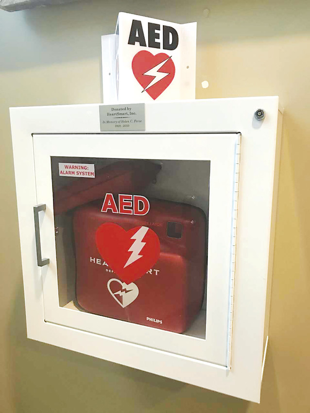 AEDs can be found in many public places, including municipal buildings and local businesses.