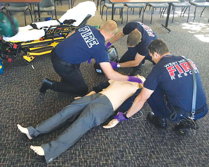 West Metro Fire Rescue crews practice for a cardiac arrest event.