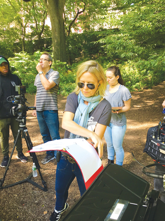 Stephanie Little directs a film shoot in Central Park.