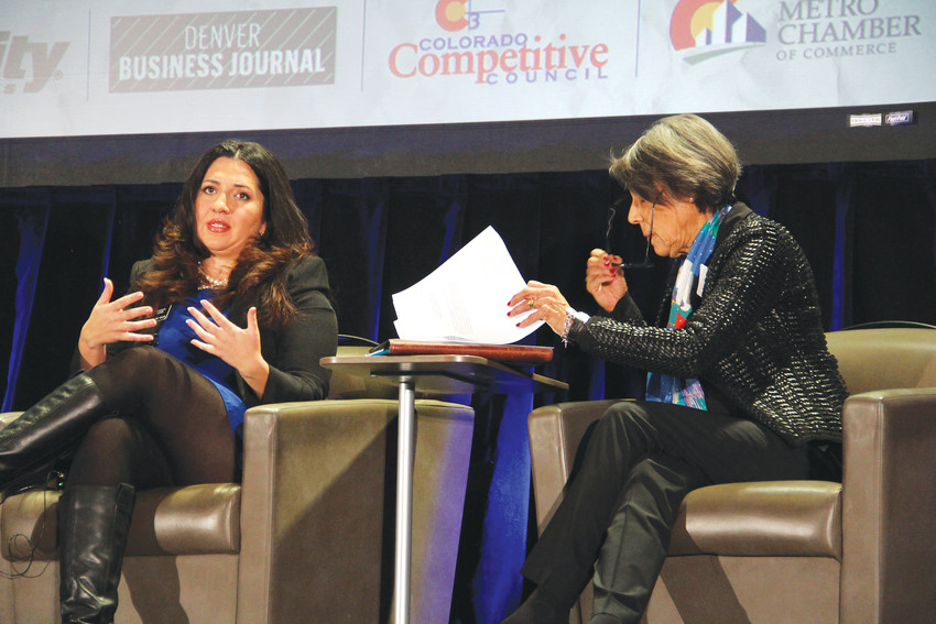 State House Speaker Crisanta Duran, left, sits alongside state Senate Minority Leader Lucia Guzman, D-Denver, Jan. 4. Duran, D-Denver, and Guzman spoke about upcoming legislative issues at the Business Legislative Preview event hosted by the Denver Metro Chamber of Commerce, the Colorado Competitive Council and the Denver Business Journal in downtown Denver.
