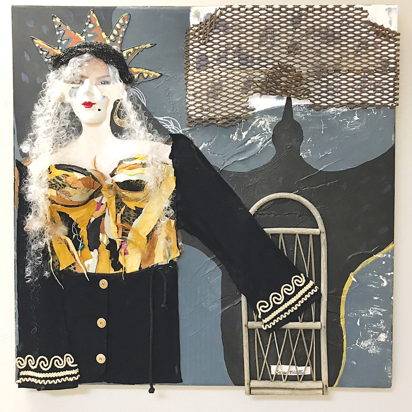 """Crone of Cordoba"" is an assemblage by Littleton artist Sue Blosten, created with meta, paint, ceramics, rattan, leather and fabric. It is in her exhibit, ""Reckless Abandon"" at Bricolage Gallery, inside Art Parts in Boulder."