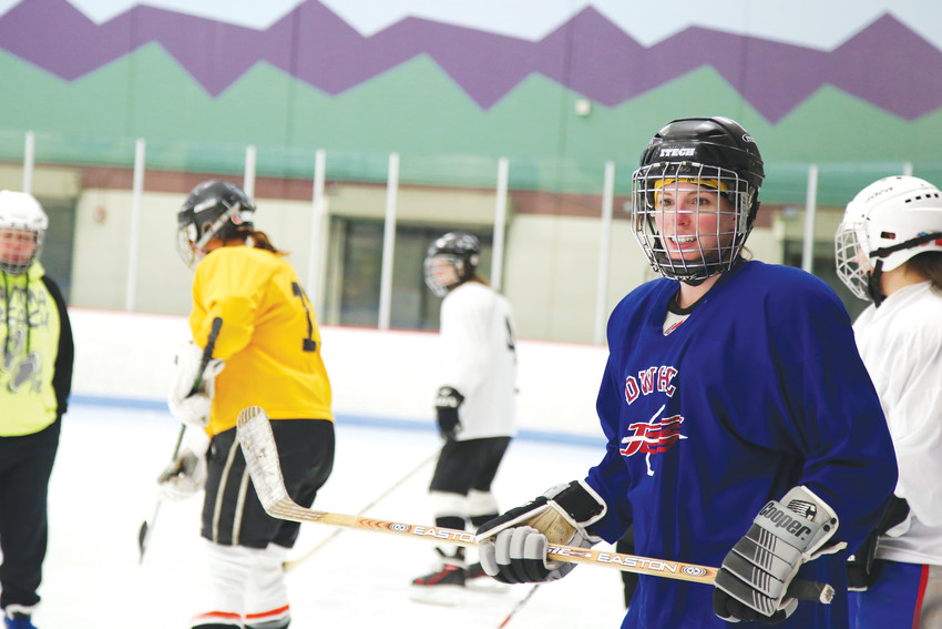 Alexandra Hall, 27, was one of 20 women trying ice hockey for the first time at the Thursday night clinic.