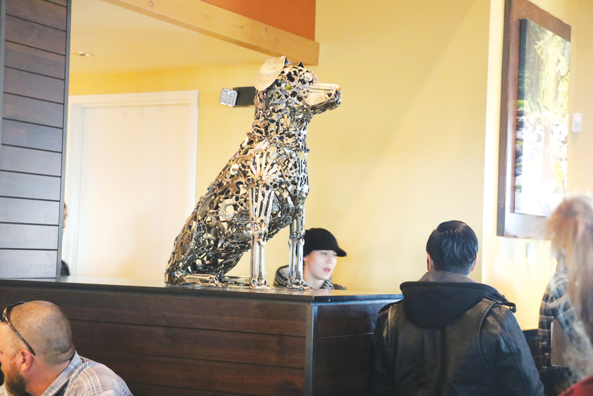 The newly opened Lazy Dog restaurant in Westminster celebrates man's best friend through its sculpture work, and by offering a menu specifically for dogs in its patio.