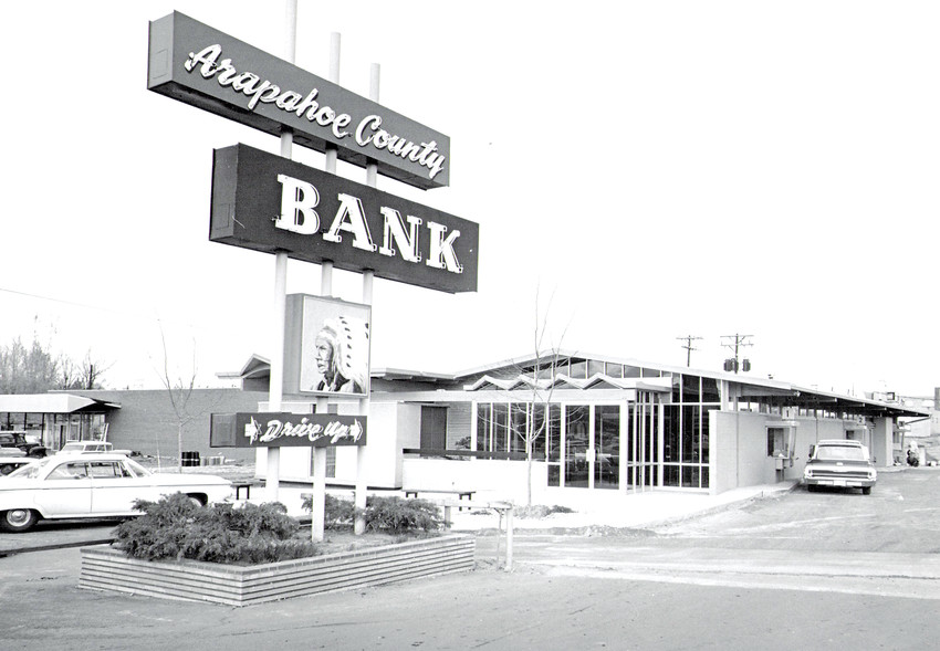 The Arapahoe County Bank was located at 5800-04 S. Datura St., Littleton. It was an example of mid-century architecture by Earl Chester Morris, who designed many Littleton schools. Note the vintage cars. Photos courtesy of Diane Wray Tomasso.