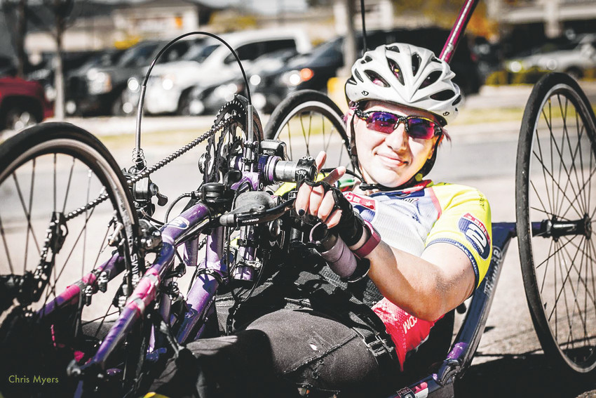 Velette Britt, 29, is a competitive hand cyclist and avid skier. She is one of five U.S. armed forces veterans that Colorado School of Mines students are working with through the nonprofit organization Quality of Life Plus (QL+).