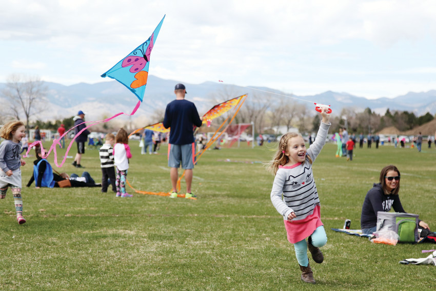 Eavan Arnold-Renicker flies her kite April 2 at the annual Arvada Kite Festival at Stenger Soccer Complex.