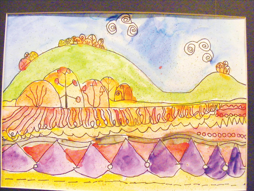 A psychedelic landscape by Wilder Elementary School second-grader Drew Eddy.