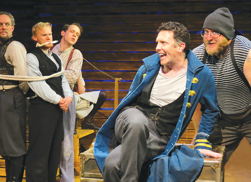 "The villanous (and hilarious) Black Stache (James O' Hagen Murphy) lords it over captive seamen and lost boys in Town Hall's ""Peter and the Starcatcher,"" which opened Jan. 12."