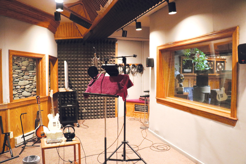 One of the vocal booths — used to record vocals — at Denver's Rocky Mountain Recorders. In addition to music vocal work, the space is perfect for audio post production for television, film, video, multimedia, interactive media and radio, voice over, audiobooks and more.