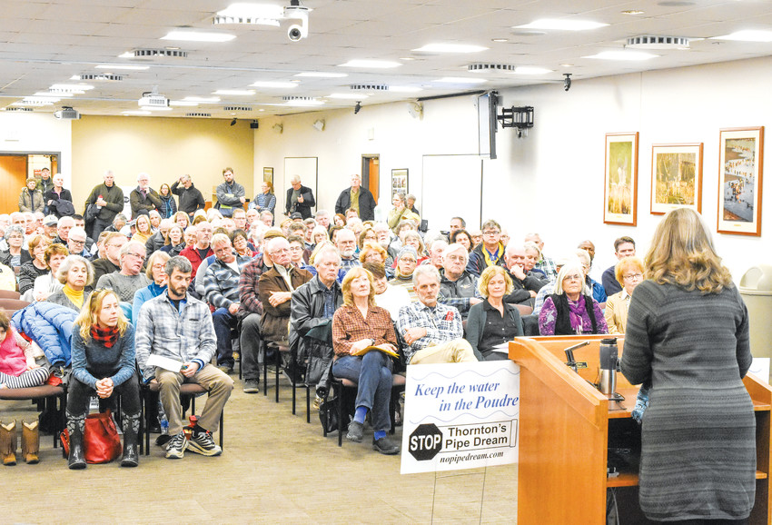 "Penny Hillman, a founding member of ""No Pipe Dream"", speaks to a gathering of concerned citizens at the Larimer County Courthouse in Ft. Collins Jan. 16. The group is opposed to Thornton's plan to divert water from the Poudre River via a 70-mile by 48-inch pipeline,"