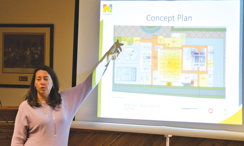 Amanda Peterson, Northglenn's director of parks, recreation and culture, points to plans for a proposed recreation center during a Ward 3 neighborhood meeting Jan. 17 in Northglenn City Hall.