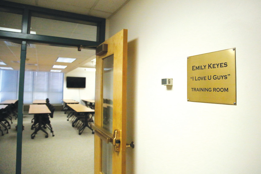The training room at the DeAngelis Center was dedicated to Emily Keyes, who died during the Platte Canyon High School hostage situation in 2006.