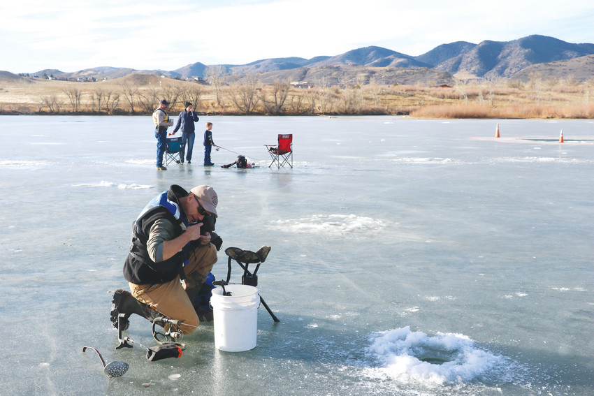 Left, ice fishers try their luck at Bear Creek Lake Park.