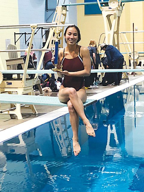 "Sophomore Ally Brown, who competes for Horizon, has emerged as one of the state's top divers this season. ""I really like the adrenaline rush,"" she said. ""I really like flipping in the air. It's scary."""