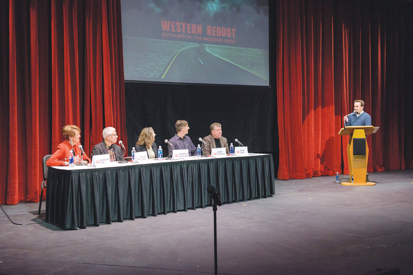 The articulate authors' panel at Western Reboot on Jan. 27 at the Arvada Center featured, l to r: Margaret Coel, Manuel Ramos, Barbara Nickless, Mark Stevens, Kevin Wolf, with emcee Chris Vanderveen of 9News.