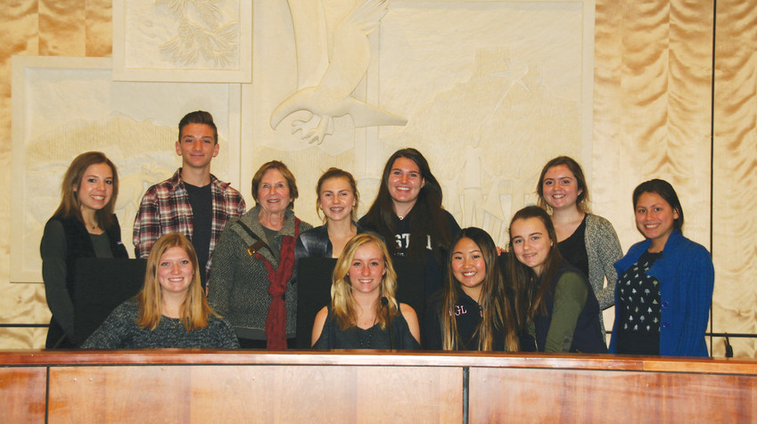 Ten Golden High School student councilors have their picture taken with Golden Mayor Marjorie Sloan on Jan. 31 during a Lunch with the Mayor package, which a parent purchased for the sophomores at the Golden Civic Foundation's Gala & Auction on Nov. 11.