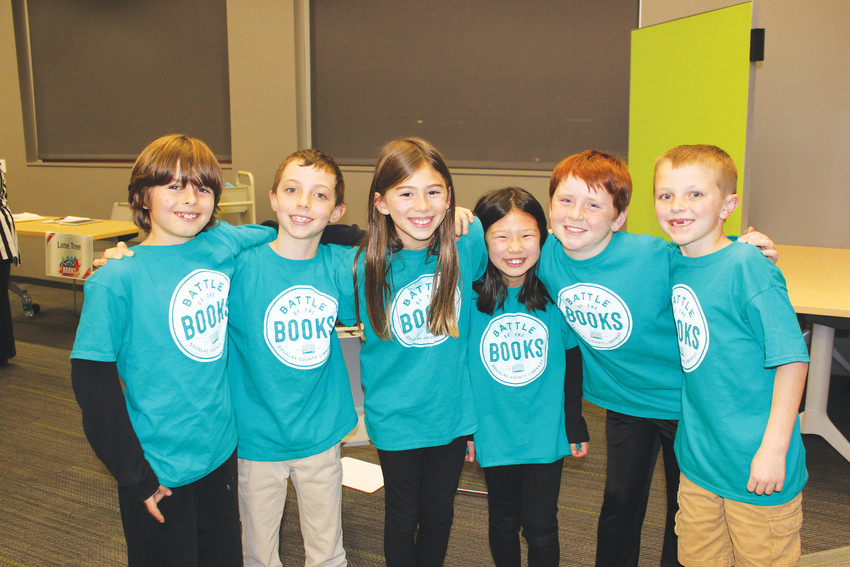 "The Lone Tree Elementary third and fourth grade Battle of the Books team competed at the Lone Tree Library, and not only answered every question correctly, but got extra points for ""stealing"" the questions the opposing team missed. L to R: Miles Insinger, Zachary Lazarus, Isabelle Moss, Jordan Iseri, Jadon Crawford and Luke Jewell."