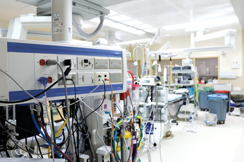 St. Anthony Hospital's operating room department's hybrid operating room, which is a flexible space for a variety of surgeries. The room is home to some state of the art medical technology.