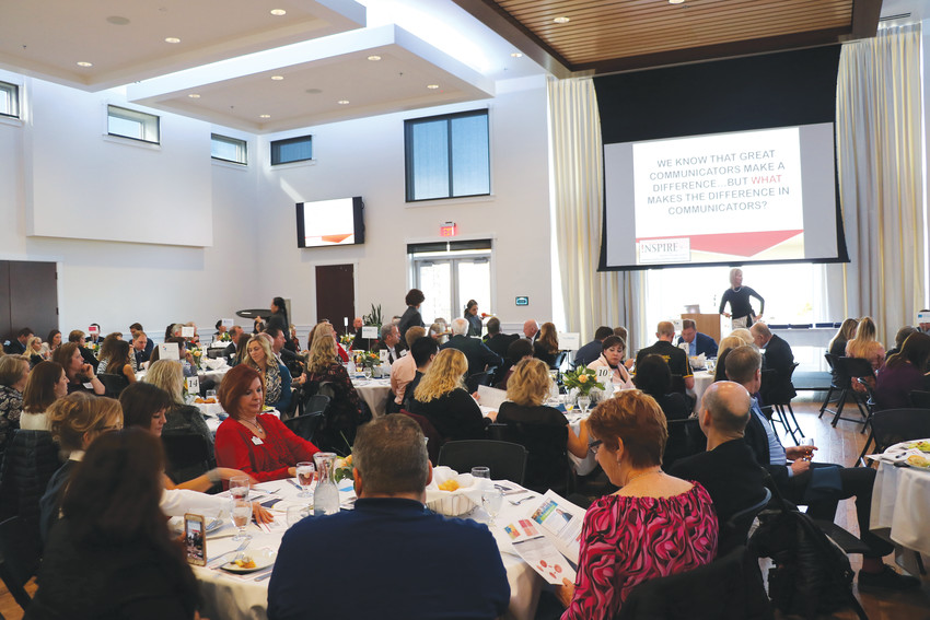 Highlands Ranch business owners and employees gather at the Falls Event Center, 8199 Southpark Ct., for the annual Chairman's Inaugural Luncheon, hosted by the Highlands Ranch Chamber of Commerce. Dr. Tammy Heflebower, a former teacher and current consultant, was the keynote speaker.