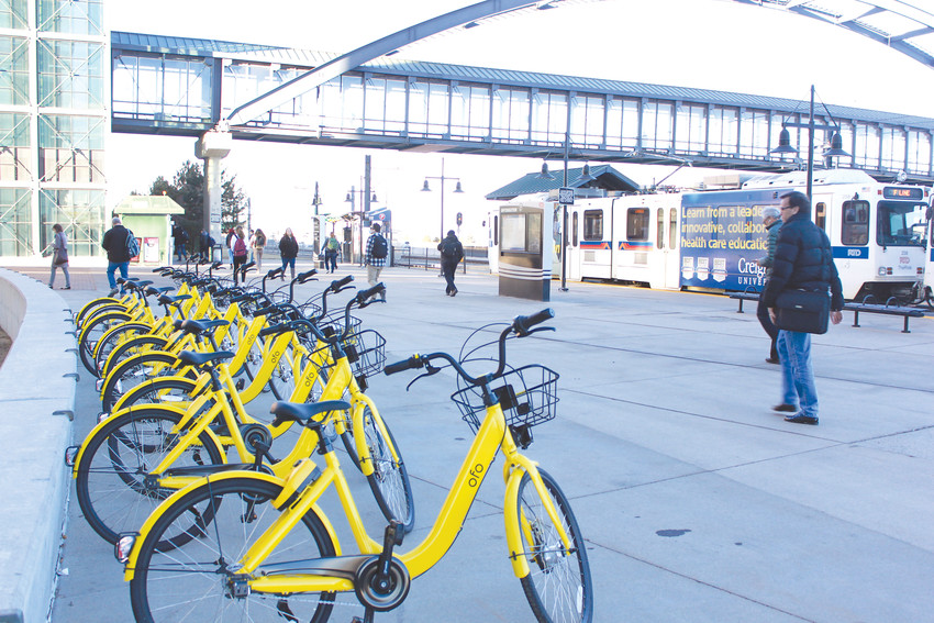 Yellow bikes appeared at Lincoln Station Feb. 7, as part of a new bike-sharing program through ofo, which allows people to rent bikes by the hour and drop them off throughout the city when they are done.