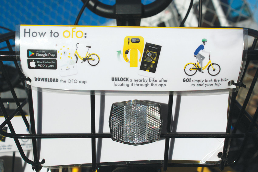 ofo bikes can be rented for one dollar per hour, using an app that unlocks the bike, then locks the bike when the rider is finished.