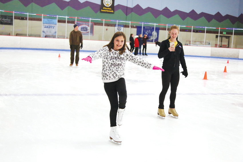 Many skaters practiced their figure skating skills during the event.
