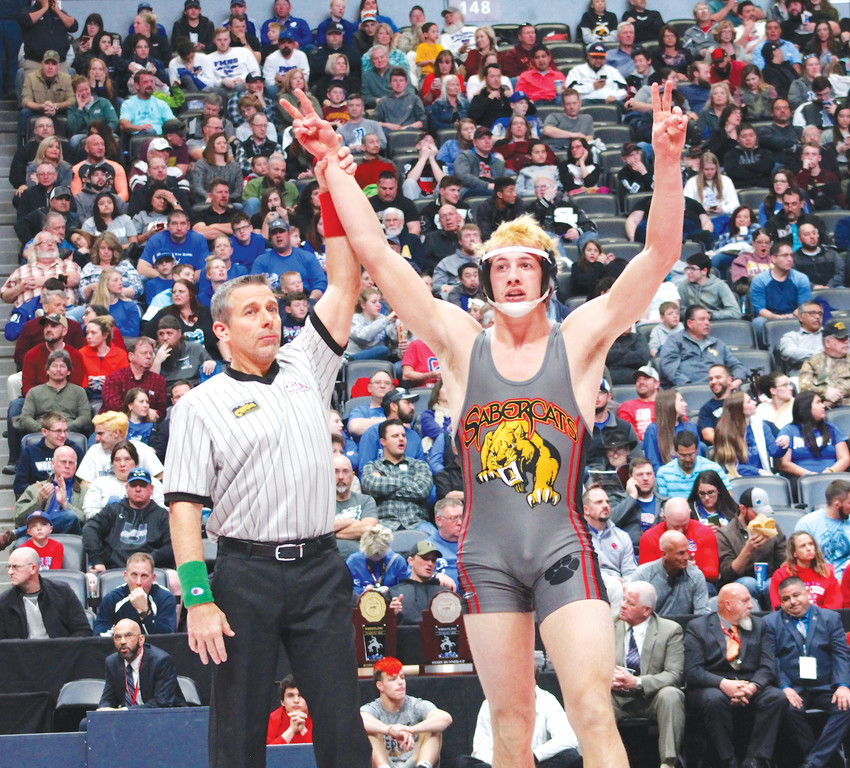Castle View senior Tate Samuelson became a two-time state champion when he won the 182-pound title with a 5-2 victory over Grand Junction's Seth Latham of Grand Junction on Feb. 17 during the State High School Wrestling Championships at the Pepsi Center.