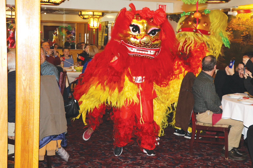 One of the lion dancer teams from the Denver Shaolin Kung Fu Academy maneuver their way among the tables during the Chinese New Year celebration at the Twin Dragon Restaurant in Englewood. The restaurant has lion dance teams from different organizations on each of the two days of celebration because each organization has its own style of lion dance.