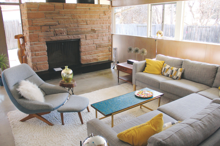 A room at 3011 S. Franklin St. in Englewood's historic Arapahoe Acres neighborhood Feb. 24. A tour of five houses, some of which were to be on the rental or buyer's market, took a crowd through the history and architecture of the mid-century modern style homes.