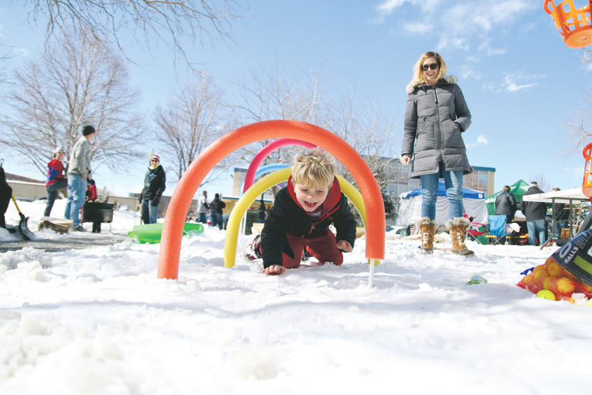 Diago Browning braves the snow during the kids obstacle course at the inaugural 2018 Arvada Winterfest, designed to promote outdoor activity in the winter.