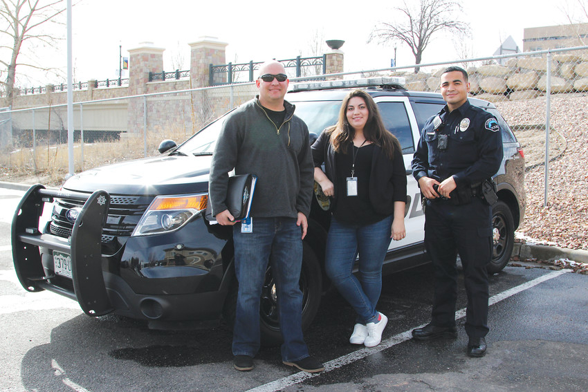 Members of the Castle Rock Community Response Team are, from left, clinician Troy Thompson, case manager Leandra Montoya and Castle Rock police Officer Marcos Whyte. The three dispatch to calls together when an incident is identified as involving a mental health issue.