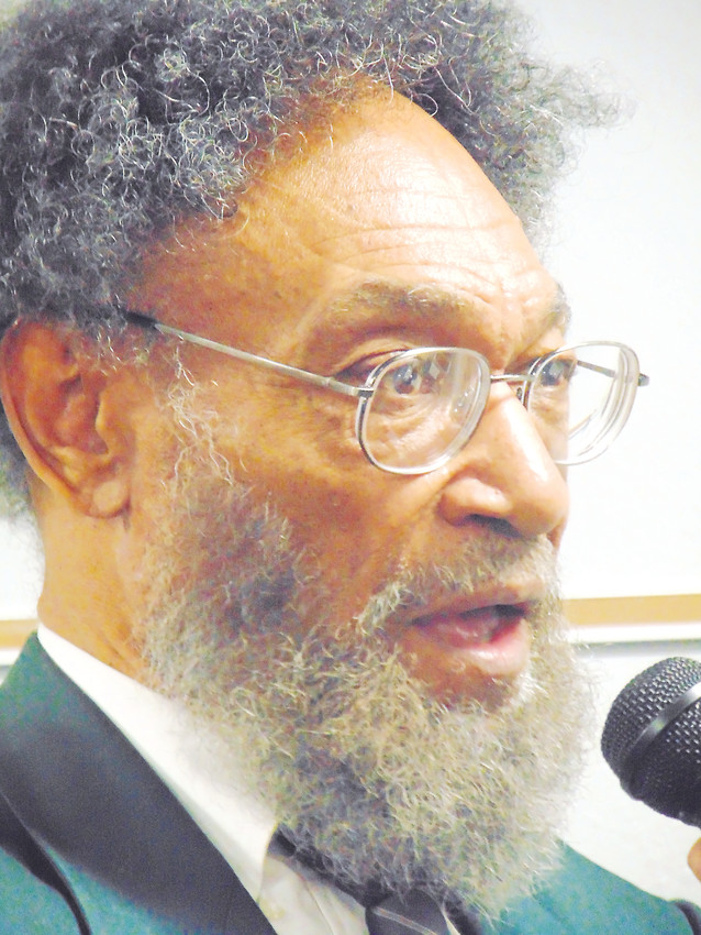 Chautauqua scholar Charles Everett Pace portrayed civil rights icon Malcolm X at Bemis Library on Feb. 27.