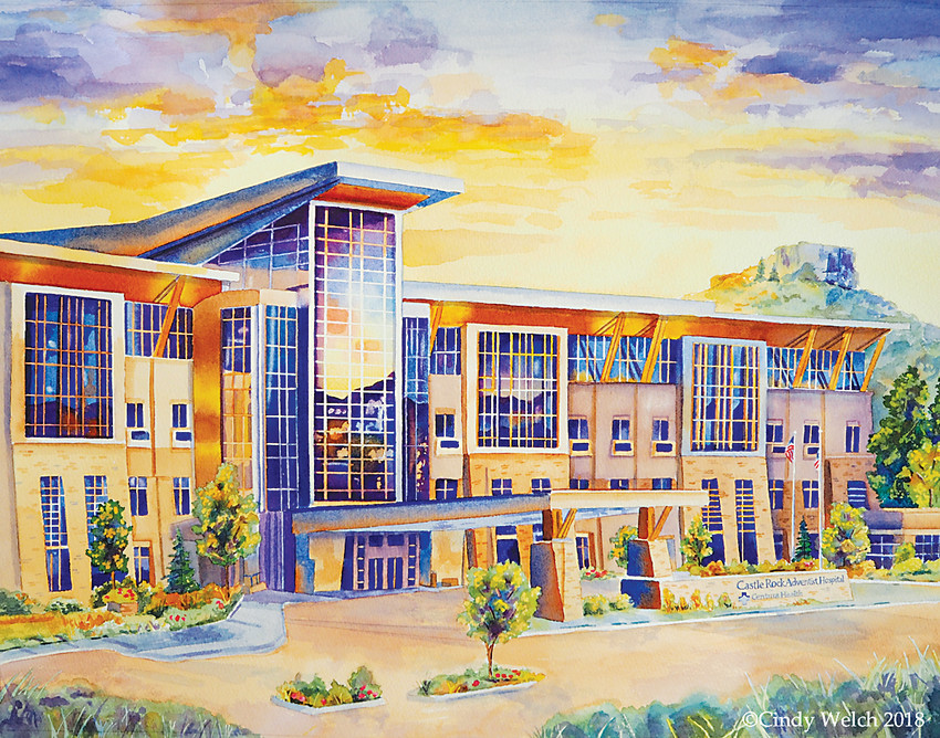 Cindy Welch's new painting of Castle Rock Adventist Hospital will be unveiled on March 16.