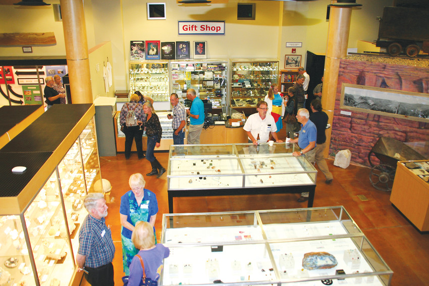 A crowd wanders around the downstairs of the Colorado School of Mines Geology Museum, 1310 Maple St. in Golden, on Sept. 16, 2015, during the museum's annual open house, which coincides with the Denver Gem and Mineral Show every year. Admission to the geology museum is always free, and its hours are 9 a.m. to 4 p.m. Monday through Saturday, and 1-4 p.m. on Sunday. Learn more at https://www.mines.edu/geology-museum/.