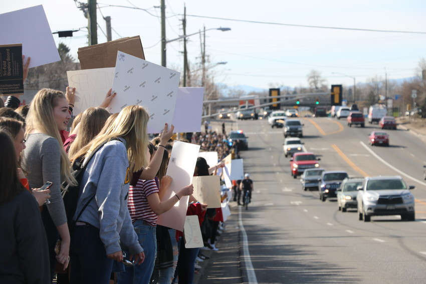 Several hundred Lakewood High School students lined up along Kipling Street on March 14, standing in solidarity with students all over the county and country who are remembering victims of gun violence. 
