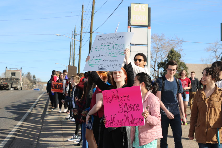 Lakewood High School students lined up along Kipling 