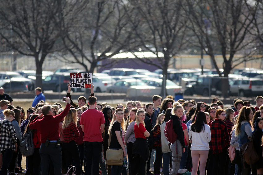 The #Enough walkout at Arvada West High was held on campus to ensure student safety.